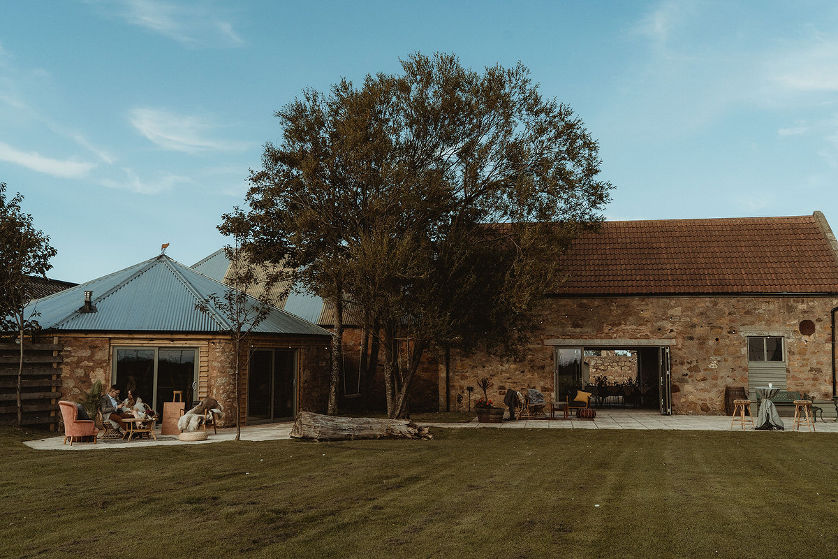 Outdoor seating areas at Cow Shed, Crail Small Wedding Scotland Inspo