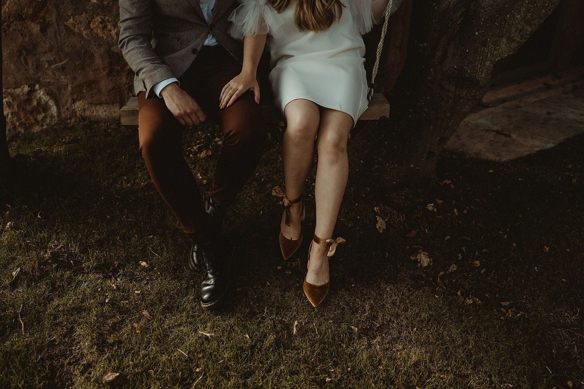 Bride and groom style with Bella Nude dress for mini small micro wedding at The Cow Shed, Crail.