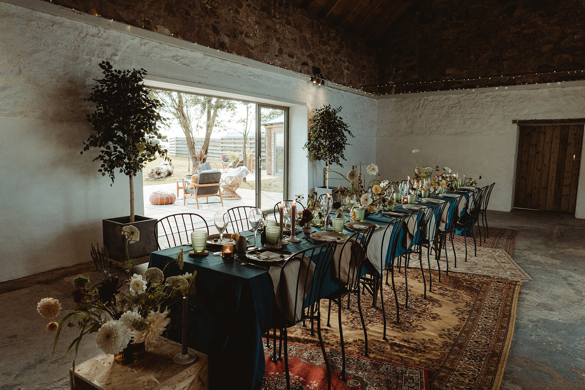 Wedding table dinner styling for small mini micro wedding at the Cow Shed Crail