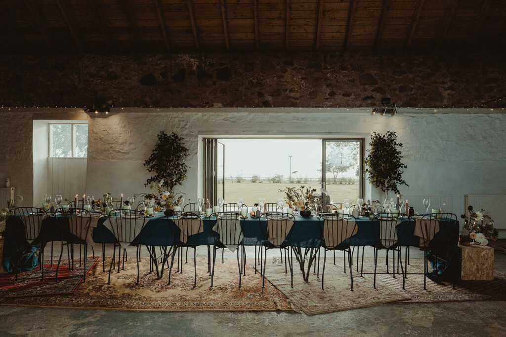 Micro mini small wedding table layout and styling at The Cow Shed, Crail Small Wedding Scotland Inspo
