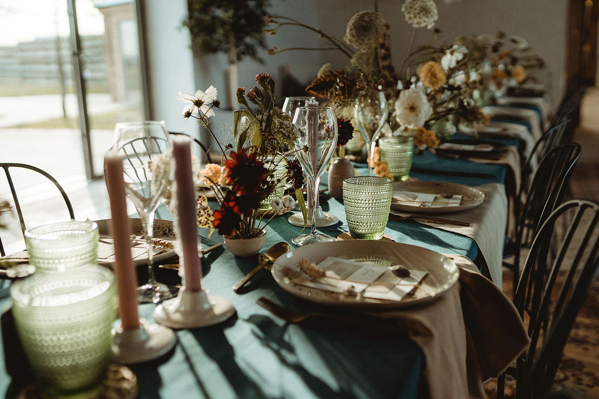 Wedding table dinner styling for small mini micro wedding at the Cow Shed Crail Small Wedding Scotland Inspo