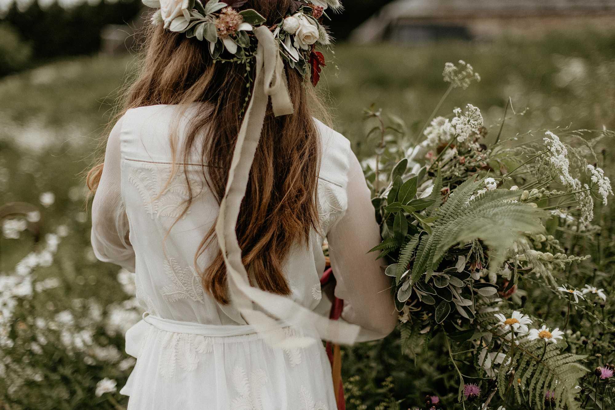 Wild greenery wedding bouquet