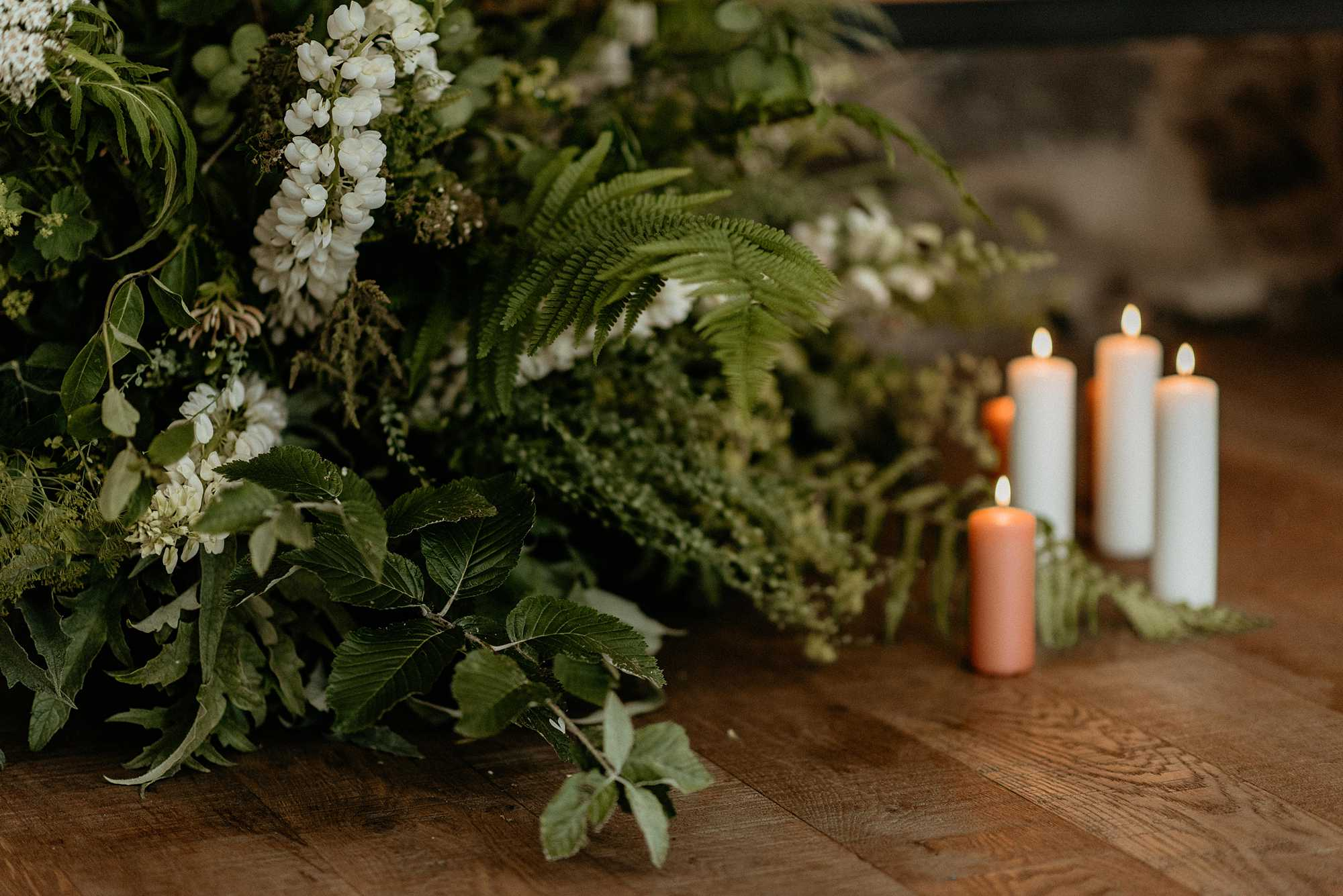 Greenery wedding ceremony installation