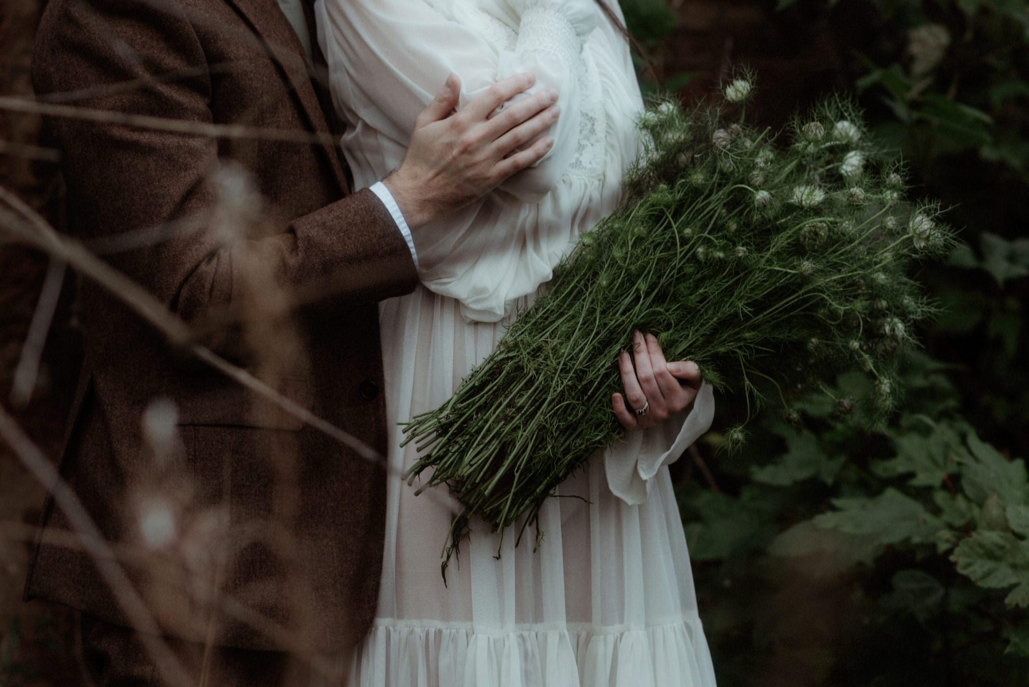 Fluffy wild wedding bouquet