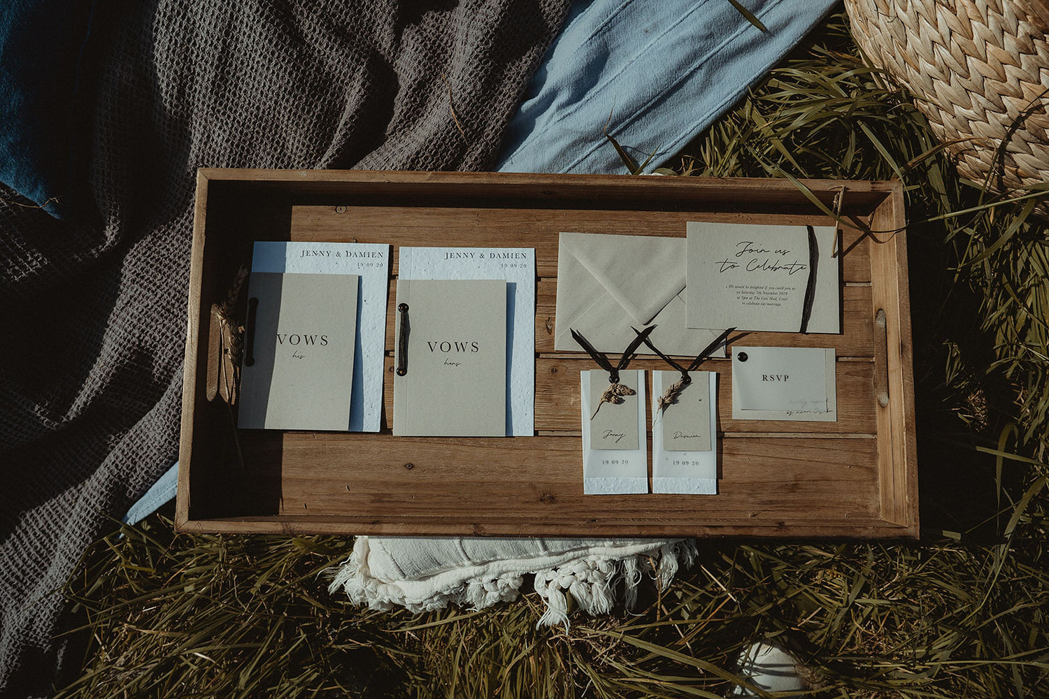 Elopement stationery suite for Scottish seaside clifftop elopement