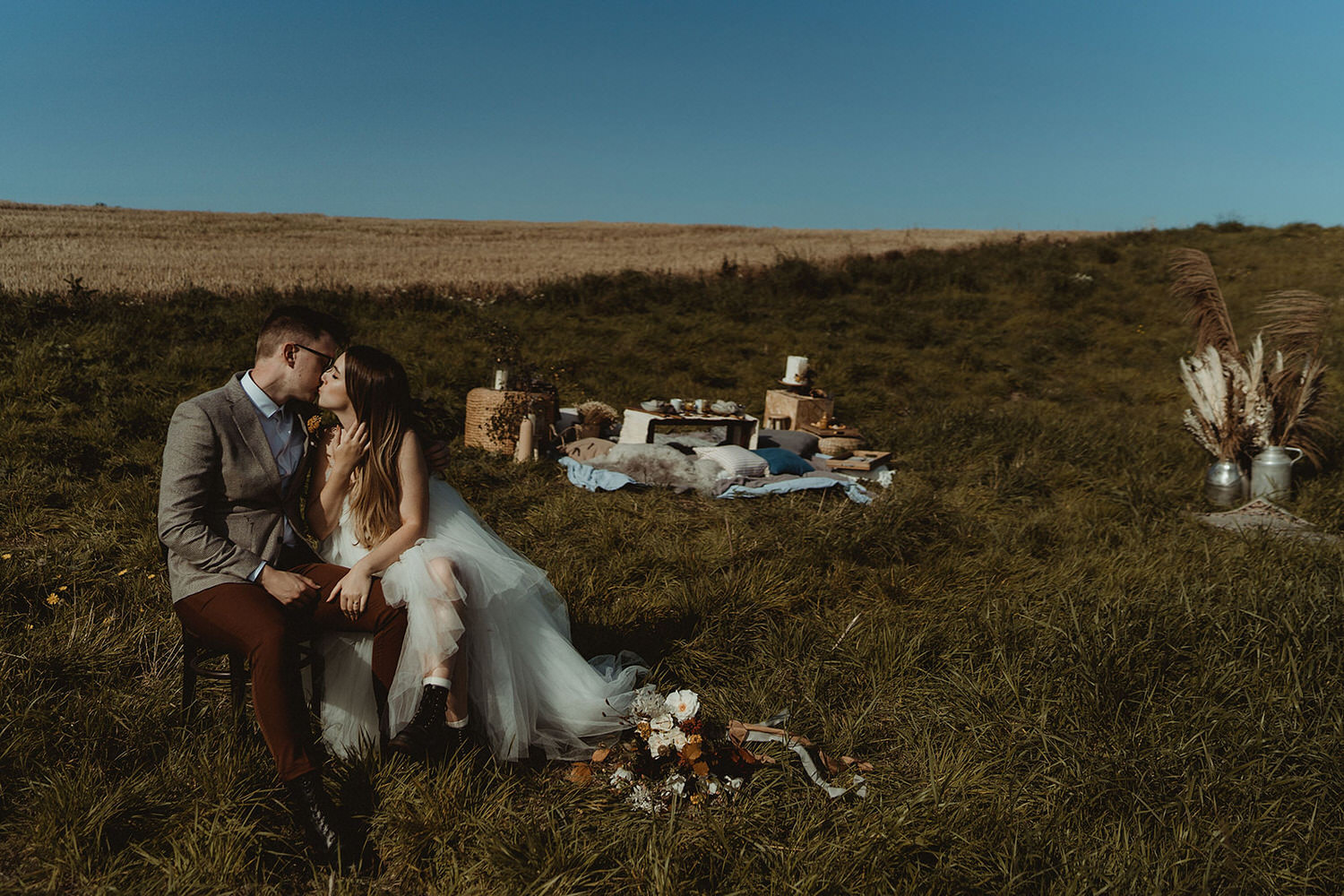 Seaside clifftop elopement dinner and ceremony on the East Coast of Scotland at The Cow Shed Crail