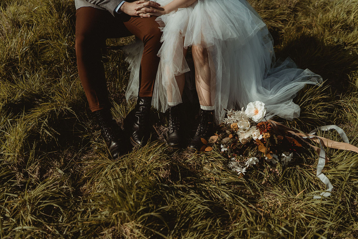 Wild wedding bouquet for seaside clifftop elopement on the East Coast of Scotland