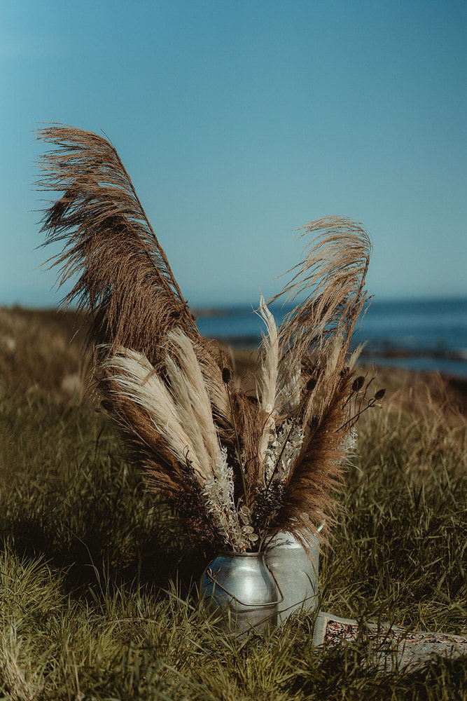 Pampas and dried grasses ceremony decoration for East Coast of Scotland elopement