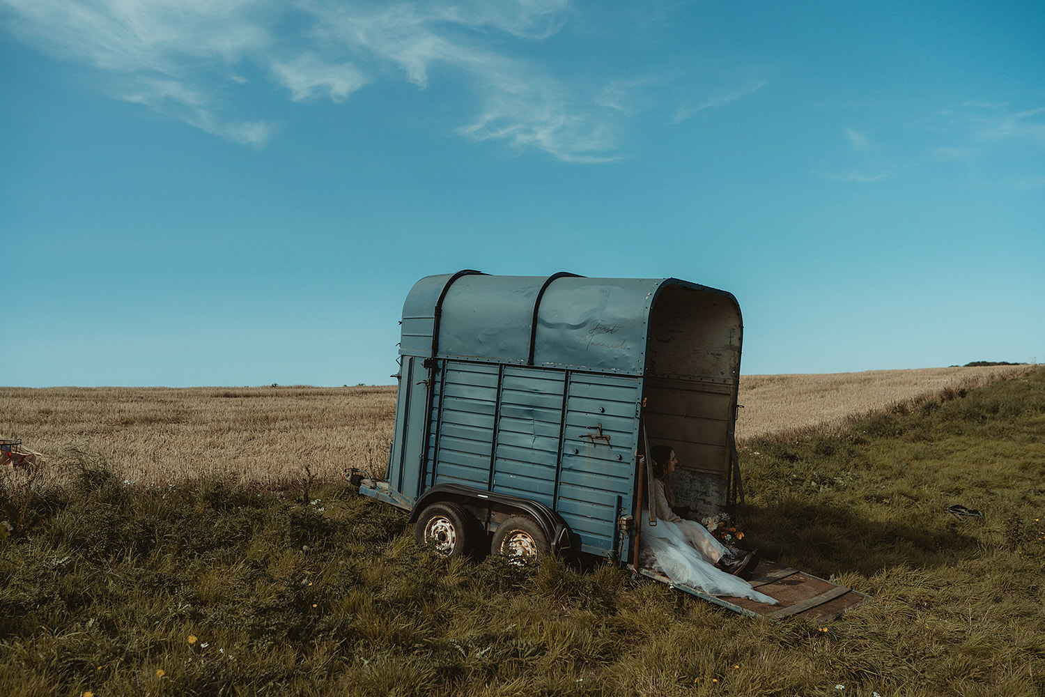 Just Married horsebox sign for seaside clifftop elopement on the East Coast of Scotland at the Cow Shed