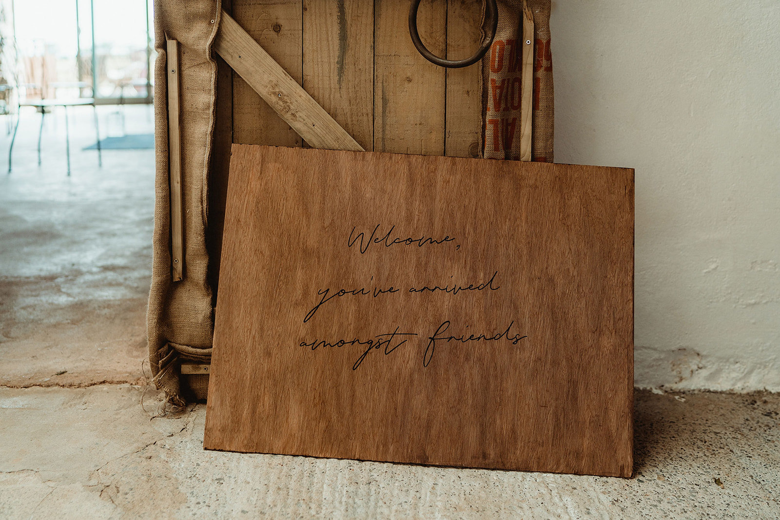 Wooden minimalist rustic wedding welcome sign Small Wedding Scotland Inspo