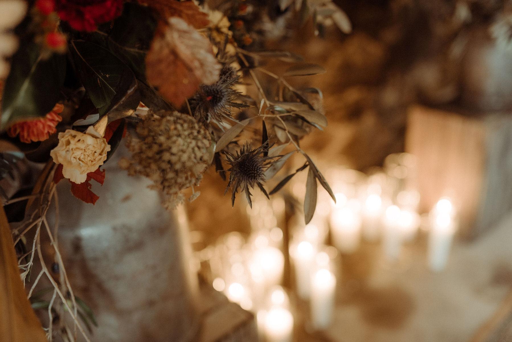 Candles for romantic Crear Scottish wedding