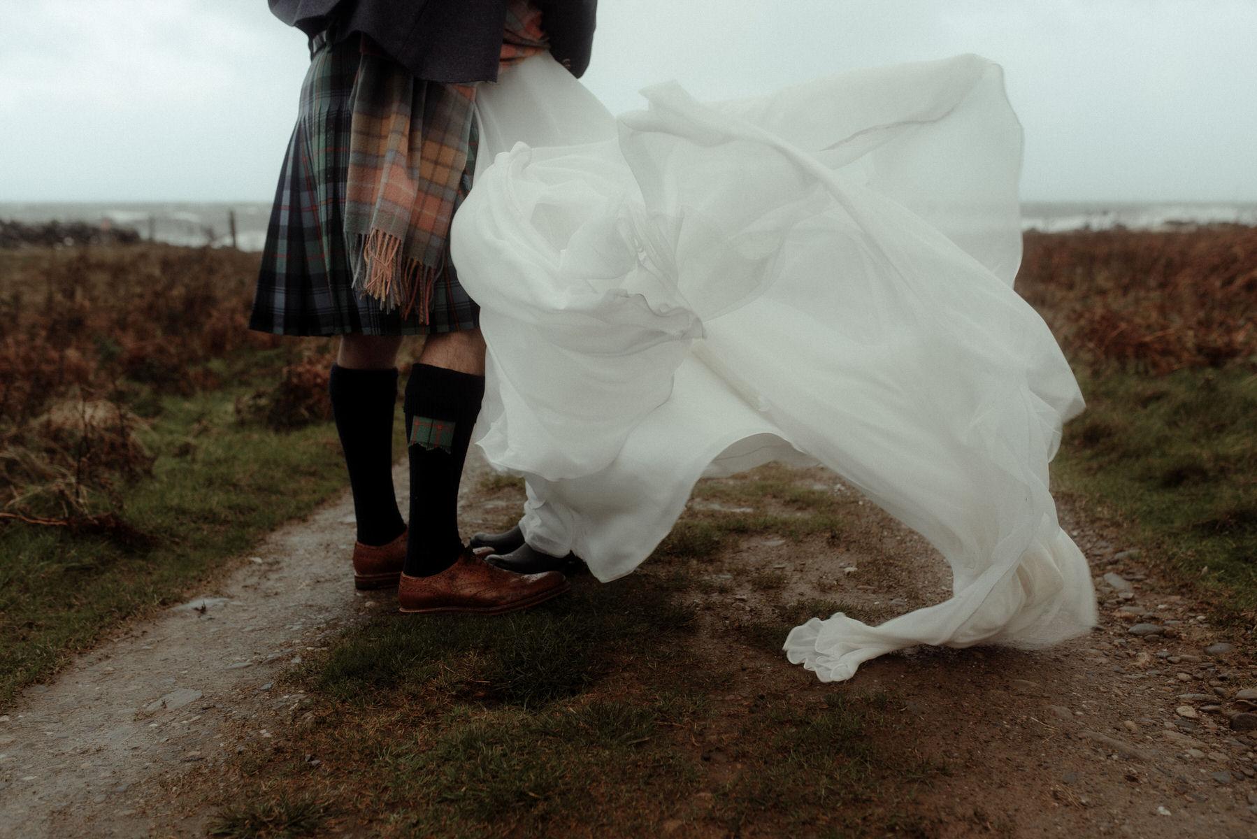 Stormy coastal wedding photograph