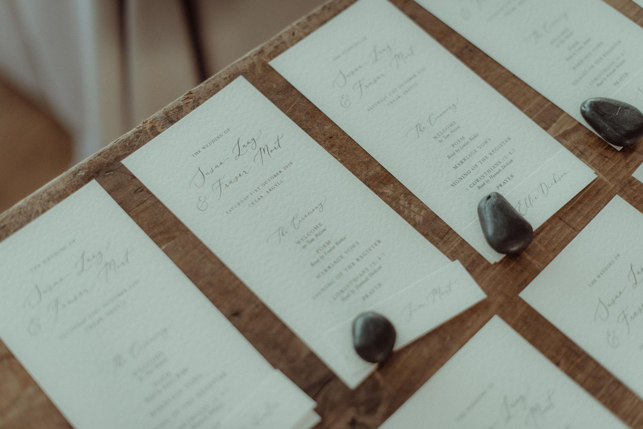 Stationery for Scottish Autumnal wedding