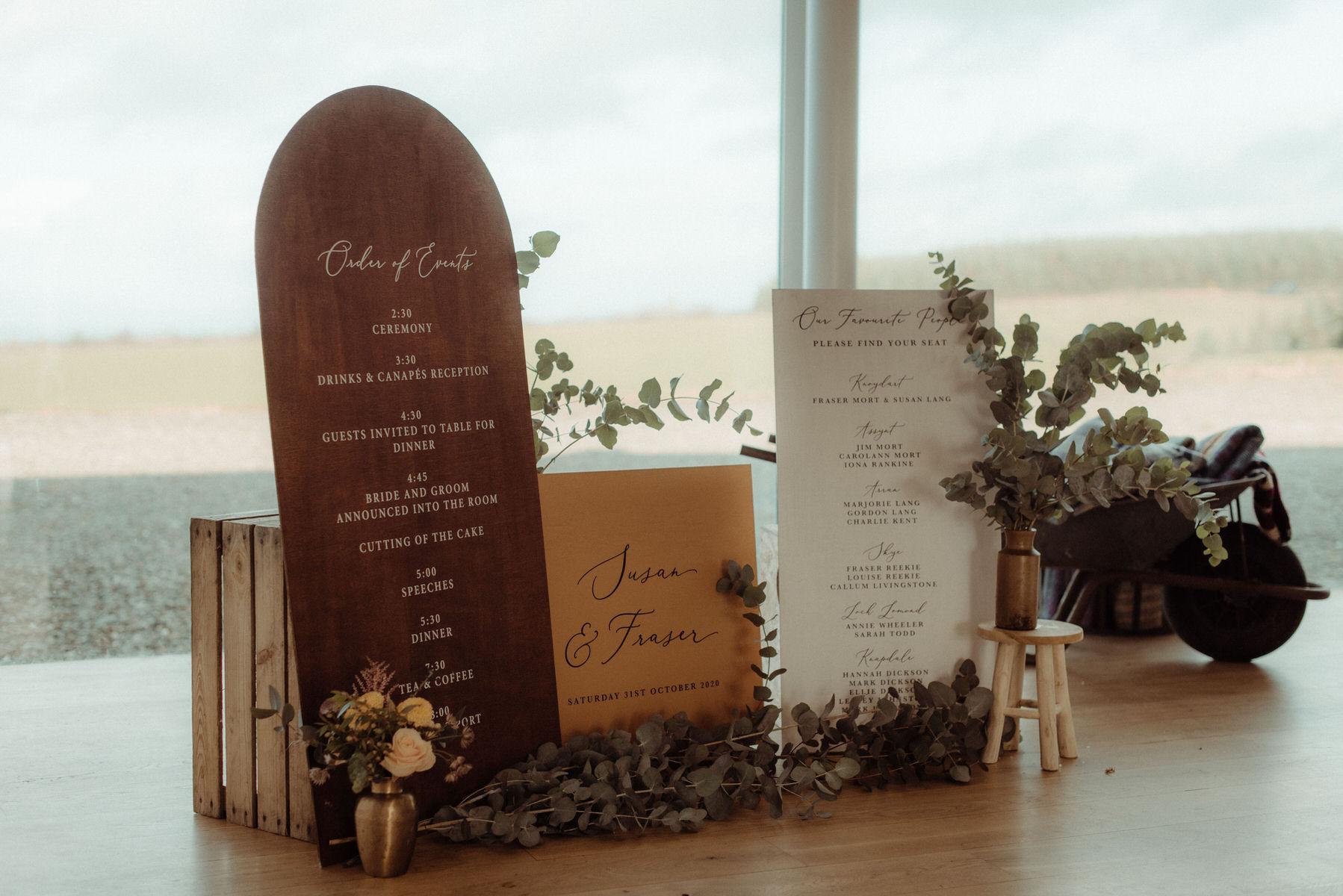 Signage for Scottish Autumnal wedding