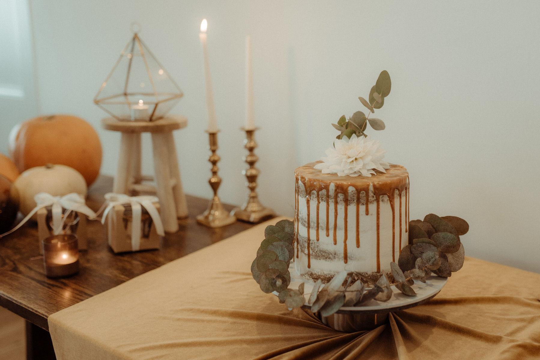 Wedding cake with greenery
